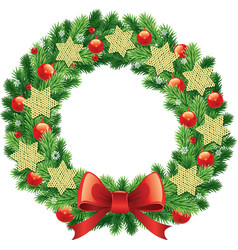 traditional christmas wreath with garlands vector image