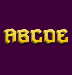 A b c d e yellow 3d letters bold volumetric vector