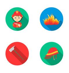Ax helmet fireman flame fire department set vector