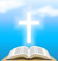 Bible and shining cross over blue sky vector