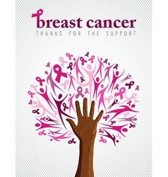 Breast cancer awareness pink ribbon hand tree vector image
