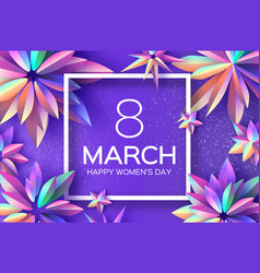 Bright violet holographic flowers happy womens vector