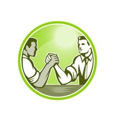 Businessman office worker arm wrestling vector