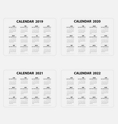 calendar 2019 2020 2021 and 2022 calendar vector image