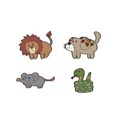 cartoon lion dog rat snake animal vector image