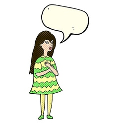 Cartoon surprised girl with speech bubble vector