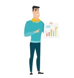 Caucasian business man showing financial chart vector