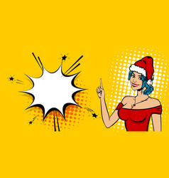 christmas pop art sexy white woman smile vector image