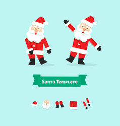 christmas santa claus collection paper style vector image