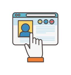 click website social media icon vector image