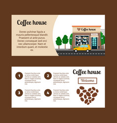 Coffee house horizontal flyers vector