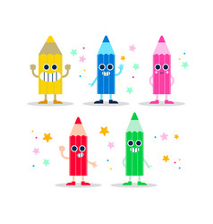 Color pencil fun character set for kids or school vector