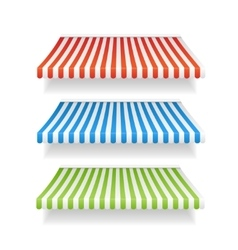 Colorful awnings for shop set vector
