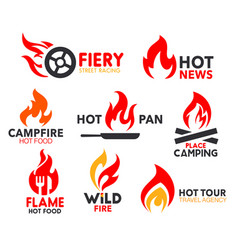 Corporate identity fire flame spicy burn icons vector
