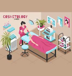 Cosmetology procedure isometric composition vector