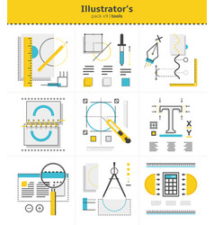 Creative graphic s tools to use in work icon set vector