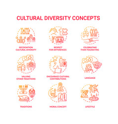 Cultural diversity concept red icons set vector