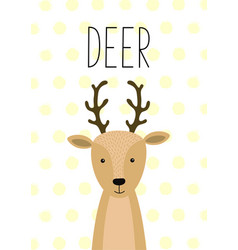 Cute deer funny poster card vector