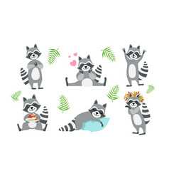 Cute funny raccoons collection adorable funny vector
