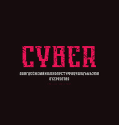 Cyrillic serif font in cyber style vector