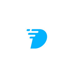 D letter dash digital fast logo icon vector