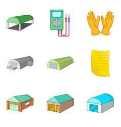 Depot icons set cartoon style vector