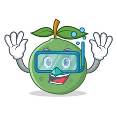 Diving guava character cartoon style vector