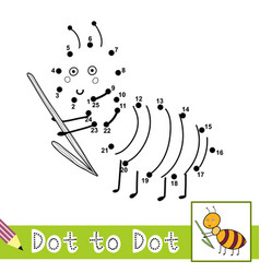 Dot to dot numbers game with cute ant connect the vector