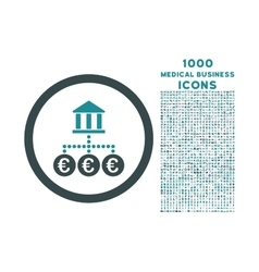 Euro Bank Transactions Rounded Icon with 1000 vector image