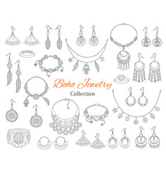 Fashionable boho jewelry accessories collection vector
