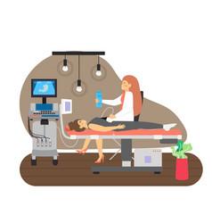Female doctor doing abdominal ultrasound scan vector