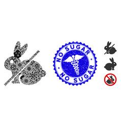 Fever collage no rabbit icon with caduceus vector