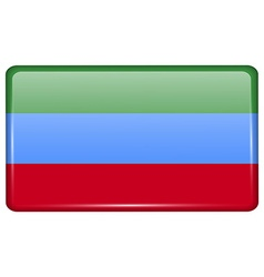 Flags Dagestan in the form of a magnet on vector