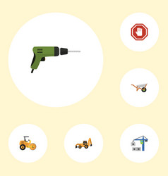 Flat icons excavator handcart steamroller vector