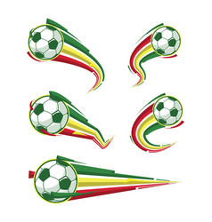 Football yellow green red and soccer symbols set vector