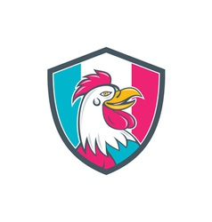 French Rooster Head France Flag Shield Cartoon vector