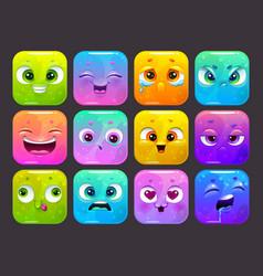 funny carton square faces set colorful emoji vector image