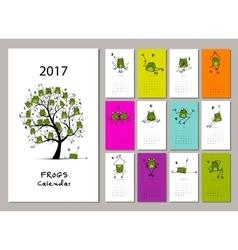 Funny frogs calendar 2017 design vector