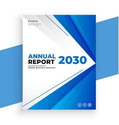 Geometric blue annual report business brochure vector