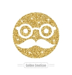 Golden glitter emoticon icon vector