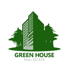 green building architecture or real estate icon vector image