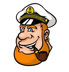 Happy cartoon captain or sailor character vector
