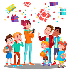 happy children and christmas gifts falling vector image