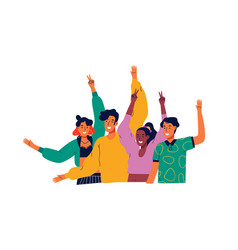 Happy diverse teen people group waving hello vector