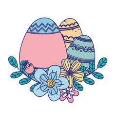 Happy easter day decorative colored eggs vector