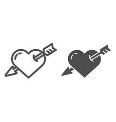 heart pierced with arrow line and glyph icon love vector image