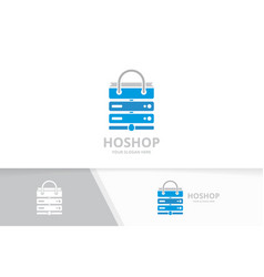 host and shop logo combination server and vector image