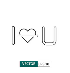 I love you icon outline style isolated on white vector