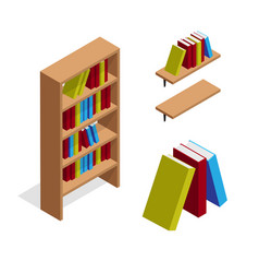 Isometric bookcase and bookshelf with books vector
