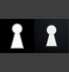 keyhole icons door key hole with light glow blur vector image